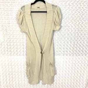 Free People Cream Shimmery Duster with Pockets 44